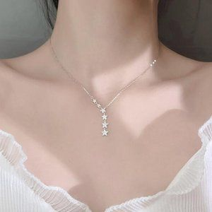NEW 925 Sterling Silver Diamond Star Necklace A